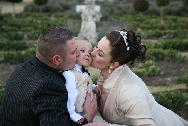 bride groom and little child at Valverde