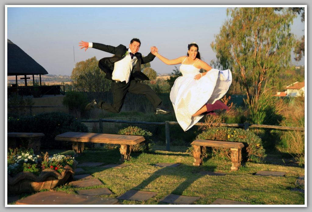 Couple jumping at Valverde